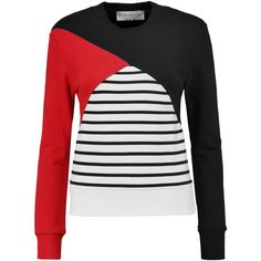 Etre Cecile - Color-block Cotton Sweatshirt ($99) ❤ liked on Polyvore featuring tops, hoodies, sweatshirts, black, color block sweatshirt, animal print tops, color-block sweatshirt, colorblock top and color block tops