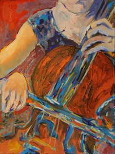 This abstract original hand painted oil painting of a young woman playing cello is executed with classic red blues. Beautiful modern tones of deep bright blues pop against the chestnut brown and burnt sienna cello. The contemporary painting was drawn from a live musician who came to play in my studio. I created many paintings letting her music inspire the art. She got to practice for her concert while I got a live concert.The result is a symphony of colors.