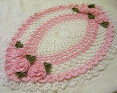 tapete de ganchillo color rosa regalo decoración para el hogar