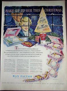 1950 MAX FACTOR Make-Up for Her vintage Christmas Ad | eBay