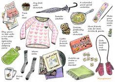 Fall must-have items (check list, mittens, tea, warm socks, umbrella, scrabble, blanket)