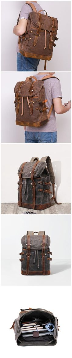 Waxed Canvas Backpack Mens Canvas With Leather Travel Backpack Retro Waterproof Canvas Laptop Backpack MC9159 Laptop Backpack, Travel Backpack, Canvas Backpacks, Waxed Canvas, Christmas Shopping, Natural Leather, Army Green, Laptop Sleeves, Shoulder Strap