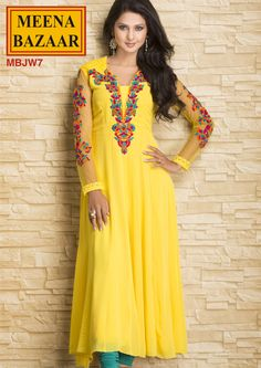MBJW7 Embroidered Kurti on Georgette Fabric with Nett Sleves