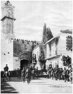 General Allenby entering Jerusalem through the Jaffa Gate. Allenby was a British General who took Palestine from the Turks