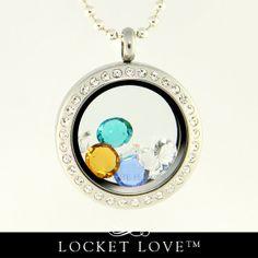 Floating Locket Crystal Framed Memory/Journey Locket Customized with Your Swarovski Crystals Birthstone . Locket Love tm