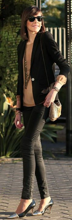 H&m Black skinny Biker Pants by Be Trench