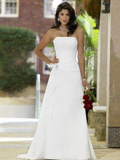 A-Line Strapless Square Satin Chiffon Wedding Dress