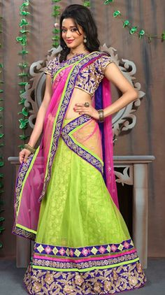 USD 130.43Green Net Party Wear Lehenga Saree 29983