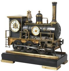 Bronze Animated Locomotive Industrial Clock 18 in. high x 18.5 in. wide x 9 in. deep. Weight: 55 lbs. Estimated Price: $25,000 - $35,000