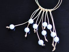 Leather and Pearl Necklace with cord