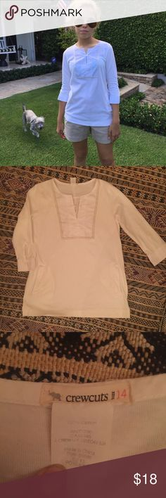 """Crewcuts girls tunic Off white cotton knit a-line tunic with front slash pockets.  Crisp white cotton broadcloth """"Bib"""" placket with mother of pearl buttons and contrasted stitch detail.  Cuffed in same white cotton broadcloth.  Super cute size 14; model is 5'-6"""" and a size zero.  this piece can cross-over into young adult-hood. crewcuts Shirts & Tops Blouses"""
