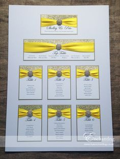 Yellow Wedding Stationery | The Cinderella Collection - Table Plan / Seating Chart | Featuring gold glitter paper, bright yellow ribbon and gold embellishment | Luxury handmade wedding invitations and stationery #byenchanting