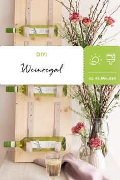 DIY-Weinregal The DIY video shows how to build a wine rack yourself: with a solid board, hooks and p Diy Furniture Videos, Diy Outdoor Furniture, Outdoor Decor, Furniture Ideas, Diy Videos, Built In Wine Rack, Backyard Fences, Chickens Backyard, Backyard Ideas