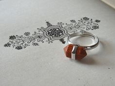 Copper Gemstone Point Ring Adjustable Silver Sparkle Orange Chakra Stone Two Point Gem Bullet Stone Point Ring Finished Ring Inv0096 by PeculiarCollective on Etsy