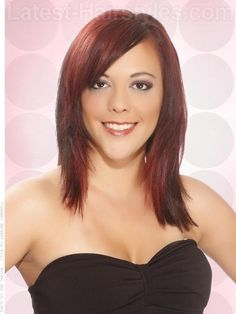 medium length brown hair red highlights