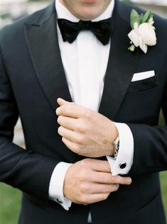 A Flower Filled Fall Wedding at Wequassett Resort Black Suit Bow Tie, All Black Tuxedo, Black Tuxedo Wedding, Bow Tie Wedding, Fall Wedding, Wedding Suits, Tuxes For Weddings, Black Tie, Groom Tuxedo Wedding