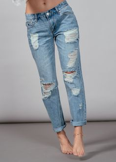 REFINED - Romeo Distressed Denim Boyfriend Jeans I Res Denim