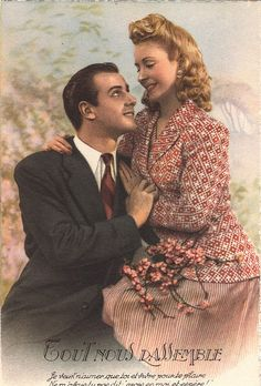 RESERVED FOR PAMELA !!!!!!!!!!!!!!!!!!!!!!!!!!!!!!!!!!!!!!!!!French Romantic vintage lovers postcard . Couple Love card.
