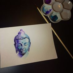 Buddha by Sasha Unisex Buddha Painting, Buddha Art, Buddha Drawing, Muse Art, Copics, Diy Art, Art Inspo, Watercolor Paintings, Art Drawings