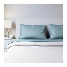"""IKEA - NATTJASMIN, Sheet set, Queen, , Sateen-woven bedlinen in cotton/lyocell is very soft and pleasant to sleep in, and has a pronounced luster that makes it look beautiful on your bed.The cotton/lyocell blend absorbs and draws moisture away from your body and keeps you dry all night long.Fits mattresses with a thickness up to 13"""" since the fitted sheet has elastic edging."""