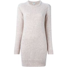 Rose wool-alpaca blend round neck sweater dress from Kenzo featuring ribbed details and long sleeves.