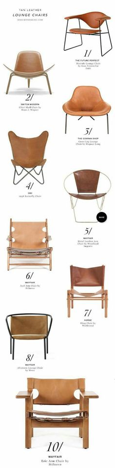 Tan leather chairs are the perfect accent chairs. | via: Kusno utomo