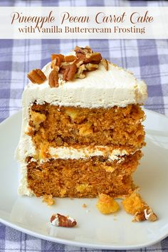 Pineapple Pecan Carrot Cake - my favorite version of the classic dessert cake featuring a moist spice cake base with sweet golden pineapple & crunchy pecans.