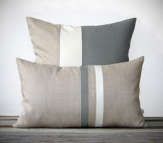 This beautiful set includes (1) 12x20 striped pillow cover in gray, cream and natural linen and (1) 20x20 color block pillow cover in gray, cream and natural linen. This signature set will make the perfect accent on a chair, sofa, window seat or bed. They would also make a perfect housewarming gift too!  Original design by artist and interior designer, Jillian Carmine.  ------------------------------------------------------------------------------------------------------ For Additional…