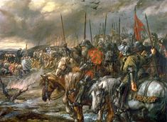 """""""Morning of the Battle of Agincourt, 25th October 1415"""", painted by Sir John Gilbert in the 19th century."""