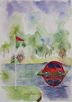 #holeinone #prize #golf #golfing #golfart #art #painting #watercolor #prizecar #redcar #golfcourse #golfer #golfgreen #reflection #arte #fineart #artprint #parthree #USD27