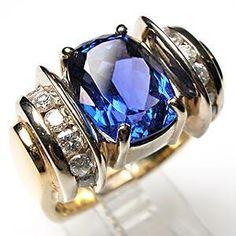 Fine Estate Genuine Tanzanite & Diamond Cocktail Ring Solid 14K Gold Jewelry | eBay