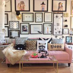 Novogratz futon || wall gallery || coffee table || inspiration