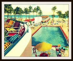 swimming pool print retro MOTEL POOL photograph by VintageBeach