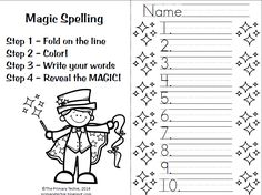 MAGIC SPELLING!  One of our favorite ways to practice spelling!  Kids LOVE this one!  Includes FREE Magic Spelling worksheet! Three sheets to choose from - 10, 15, or 20 words!