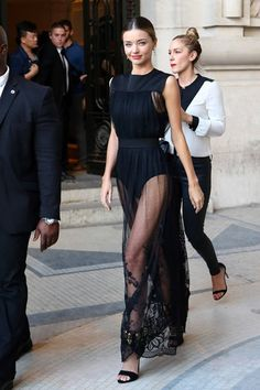 Miranda Kerr tries out the super sheer trend in a swishy, see-through dress