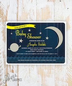 OVER THE MOON  Space Themed Baby Shower by ChikPeaDesigns on Etsy, $48.75