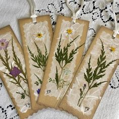 Nature Bookmarks, Pressed Flower Bookmarks, Set of 4 Botanical Page Markers, Teacher Appreciation, Book Lover Gift Fabric Postcards, Book Markers, Pressed Flower Art, Just Because Gifts, Small Cards, Book Lovers Gifts, Tags, Flower Cards, Flower Petals