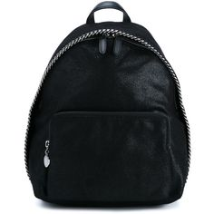 Stella Mccartney Falabella Shaggy Deer Mini Backpack ($1,045) ❤ liked on Polyvore featuring bags, backpacks, black, day pack backpack, mini leather backpack, leather bags, mini backpacks and leather backpack