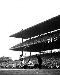 Babe Ruth Batting At Wrigley Field 1932 World Series. Baseball Park, Cubs Baseball, Sports Baseball, Sports Stadium, Sports Pics, Stadium Tour, Yankee Stadium, Baseball Players, Softball