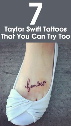 Taylor Swift is an American singer & songwriter with a very attractive persona. She loves tattooing her skin. Here are best Taylor Swift tattoos she got inked so far. Lyric Tattoos, Fake Tattoos, Cool Tattoos, Tattoo Quotes, Tatoos, Random Tattoos, Taylor Swift Tattoo, Taylor Swift Fearless, Taylor Swift Style