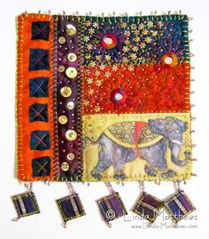 On a Starry Night in India - Downloadable Art Quilt Project...can use any focal swatch, cute for the small footstool.