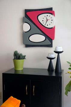 Super-Mod MCM/Mid Century Modern Wall Clock, One of a Kind, Space Age/Starburst/Eames/Nelson Style