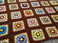 Vintage Rustic Granny Square Crochet Afghan Blanket