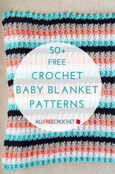 Find the perfect crochet baby blanket here! This page includes all of our favorite free crochet baby blanket patterns of all styles and skill levels. Crochet Baby Blanket Free Pattern, Crochet Baby Blanket Beginner, Easy Baby Blanket, Baby Girl Blankets, Crochet Blankets, Crocheted Baby Afghans, Crochet Rugs, Bernat Baby Yarn, Crochet Baby Booties