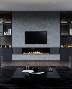 Modern Tv Room, Modern Wall Units, Living Room Modern, Home Living Room, Barn Living, Small Living, Living Room Decor Fireplace, Modern Fireplace, Fireplace Design