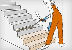 Dress the concrete stairs - step by step - Haus - Renovieren Cool Diy Projects, Home Projects, Open Staircase, Concrete Stairs, Stair Steps, Japan Design, House Stairs, Small House Design, Coworking Space