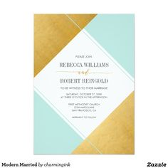 Modern Faux Gold and Mint Geometric Shapes Wedding Invitation.