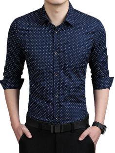 Dot Print Blue Casual Paristyle Shirt