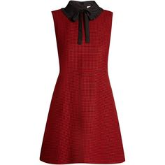 REDValentino Tie-neck hound's-tooth wool dress (7.870 ARS) ❤ liked on Polyvore featuring dresses, red, ruffle dress, red ruffle dress, mini dress, tie neck tie and short backless dresses