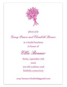 Bridal Bouquet Shower Invitations